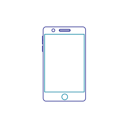 Illustration of mobile phone with line icon of gradient from blue and violet colors isolated on white Illusztráció