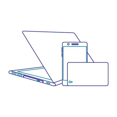 Ensemble d'ordinateur portable de périphérique numérique moderne et téléphone mobile, illustration vectorielle. Banque d'images - 90841271
