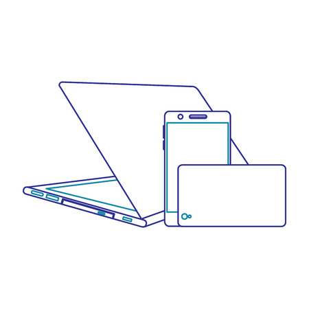 Set of modern digital device laptop and mobile phone, vector illustration.