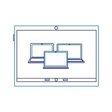 기술 화면에서 벡터 일러스트 레이 션 노트북 가제트 디지털 태블릿.