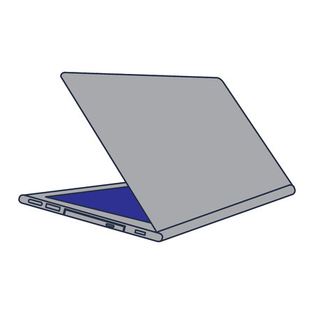Open laptop back view icon digital device, vector illustration.
