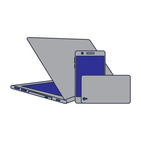 현대 디지털 장치 노트북 및 휴대 전화의 집합입니다. 일러스트