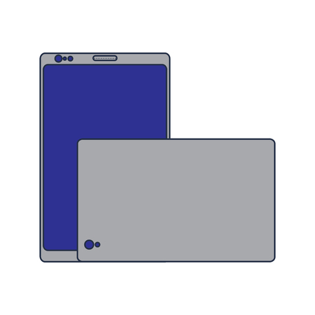 Smartphone gadget digital front and back view design.