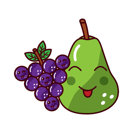 happy pear and grapes fruit  icon image vector illustration design