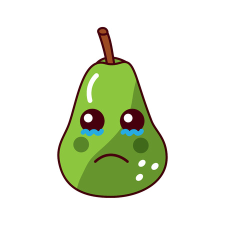 pear sad crying fruit  icon image vector illustration design