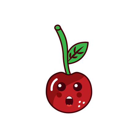 cherry yelling talking fruit  icon image vector illustration design