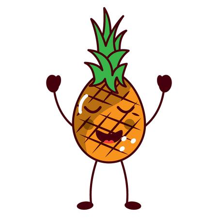 pinapple happy bliss fruit kawaii icon image vector illustration design Illustration