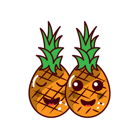 pinapples happy fruit kawaii icon image vector illustration design