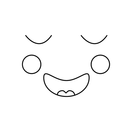 happy relaxed bliss face emoji icon image vector illustration design