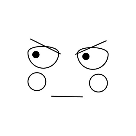 kawaii face expression facial gesture cartoon vector illustration