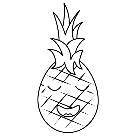 kawaii pineapple fruit expression facial cartoon vector illustration