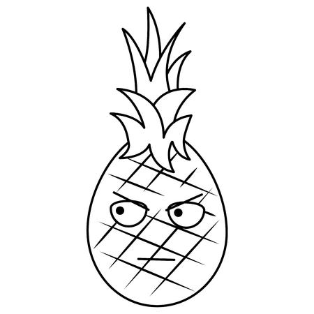 kawaii pineapple fruit expression facial cartoon vector illustration