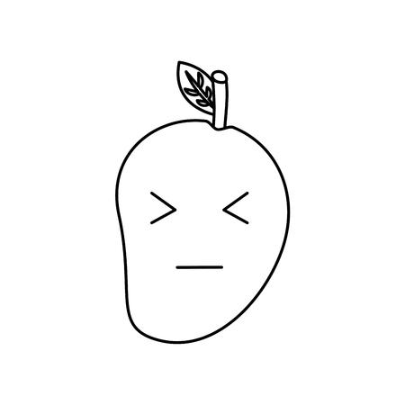 kawaii mango fruit cartoon character facial expression vector illustration Illustration