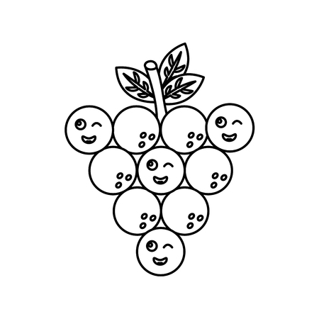 funny kawaii bunch grapes cartoon cute vector illustration