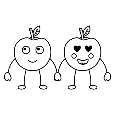 two cartoon fruit apple holding hands vector illustration