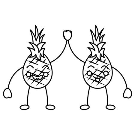 Due personaggi dei cartoni animati ananas felice caratteri illustrazione vettoriale Archivio Fotografico - 90945312