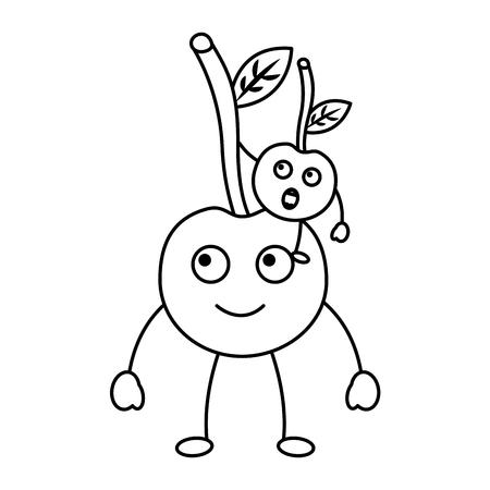 two cartoon fruit cherry cute vector illustration