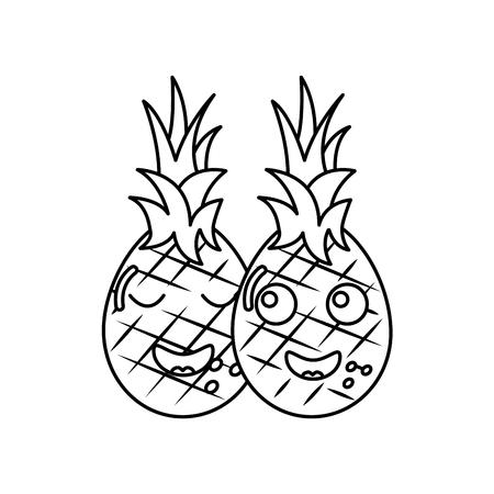 Due personaggi dei cartoni animati ananas felice caratteri illustrazione vettoriale Archivio Fotografico - 90945329