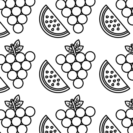 grapes and slice watermelon fruit seamless pattern vector illustration