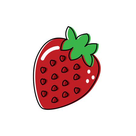 strawberry fruit delicious vitamins nutrition food vector illustration