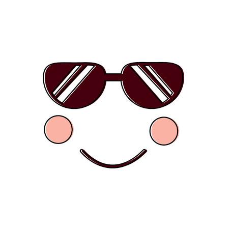 顔式顔ジェスチャー漫画ベクトル図