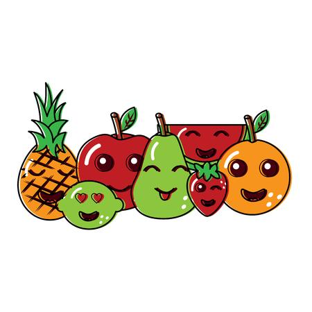 fruits cartoon character friends funny vector illustration Illustration