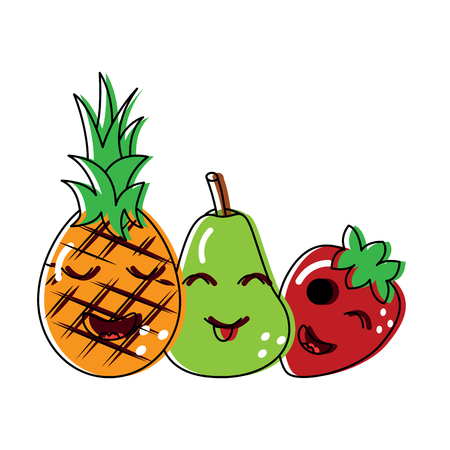 fruits cartoon pineapple pear and strawberry vector illustration Illustration