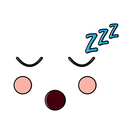 Sleeping facial gesture cartoon illustration