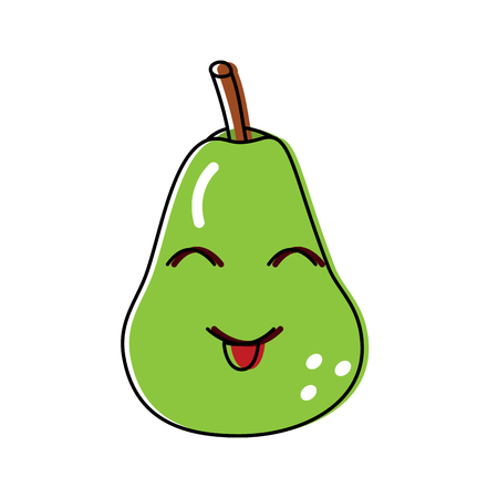 Smiling cute pear fruit illustration
