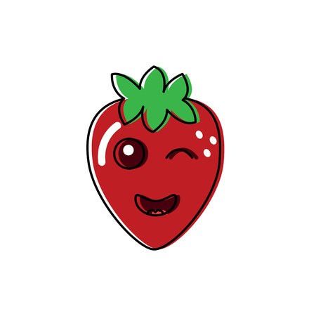 Winking cute strawberry fruit illustration 版權商用圖片 - 90837299