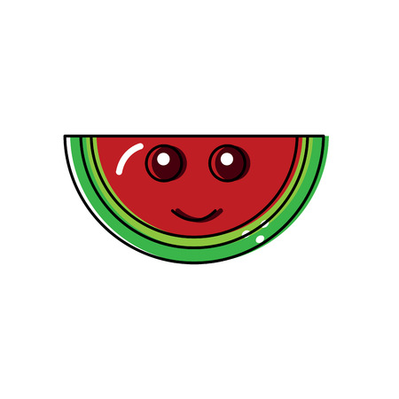 Smiling cute watermelon fruit illustration Stock Illustratie