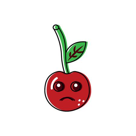 Sad cute cherry fruit illustration