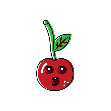 Talking  cute cherry fruit illustration