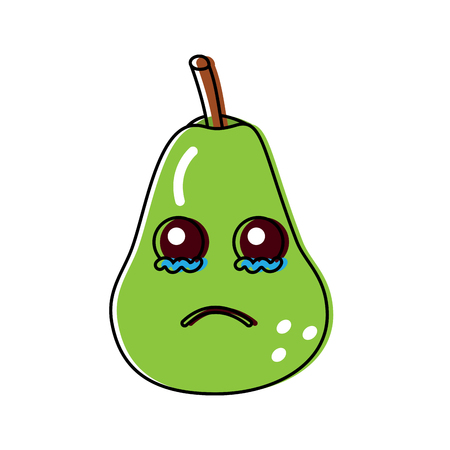 Crying cute pear fruit illustration