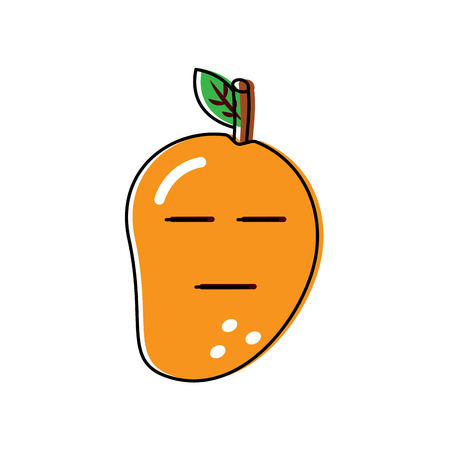 Serious cute mango fruit with closed eyes illustration Ilustração
