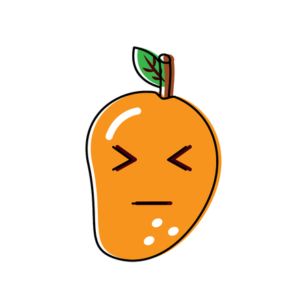 Mango fruit with closed eyes illustration