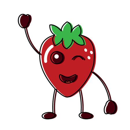 Knipogende schattige aardbei fruit illustratie