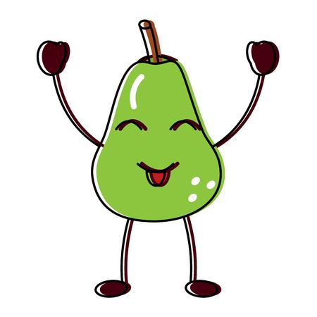 Happy cute pear fruit illustration Illustration