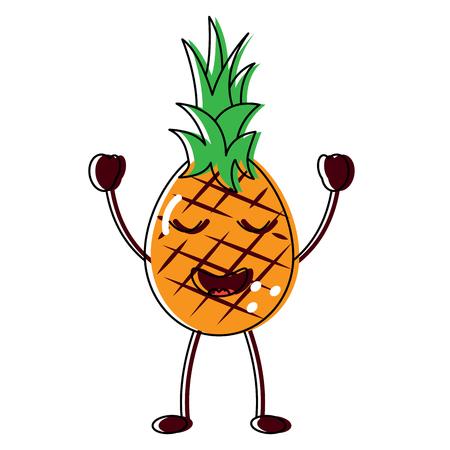 Happy cute pineapple fruit illustration