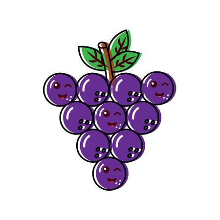 Happy grapes fruit icon illustration. Illusztráció
