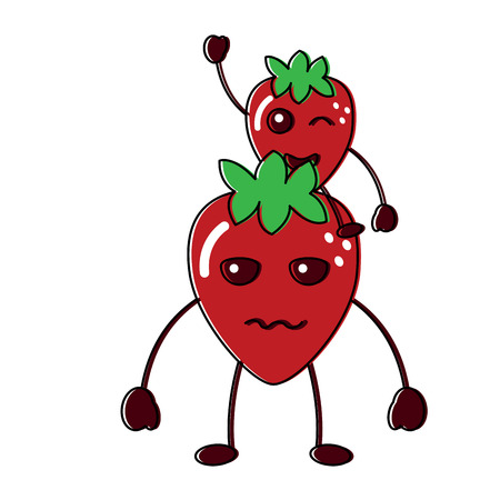 Two strawberry fruit icon illustration, one is sad the other one is happy and winking.