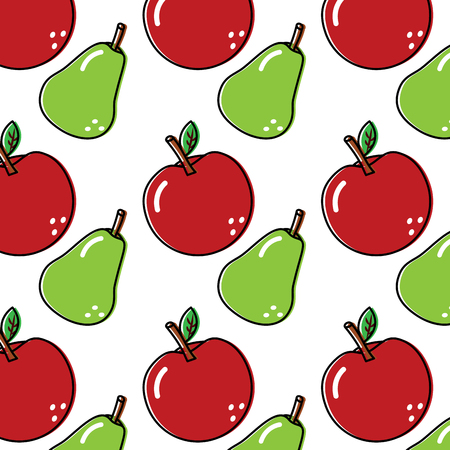 Pear and apple fruit seamless pattern illustration.