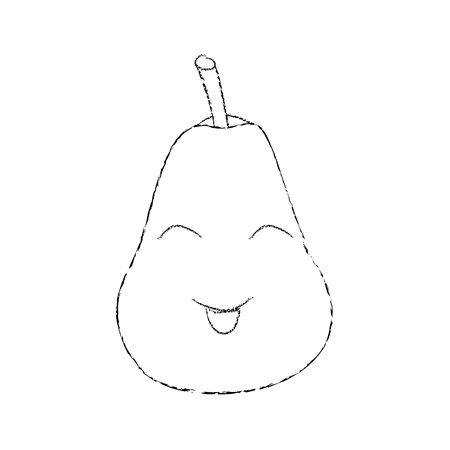 Pear happy fruit cute icon image, vector illustration.