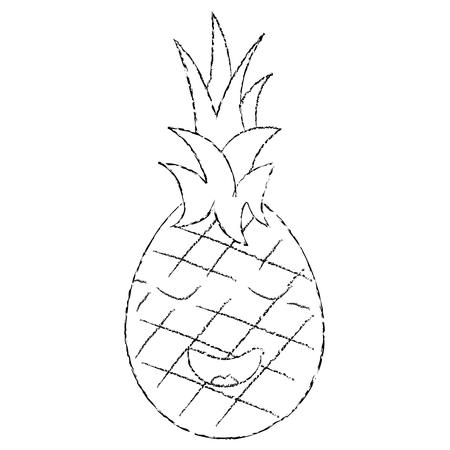 파인애플 행복 한 행복 과일 귀여운 아이콘 이미지, 벡터 일러스트 레이 션입니다.