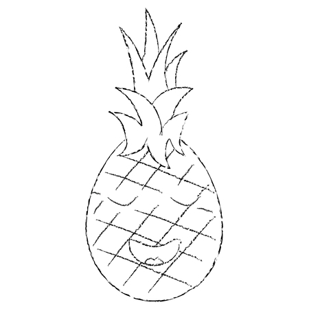 Pineapple happy bliss fruit cute icon image, vector illustration.