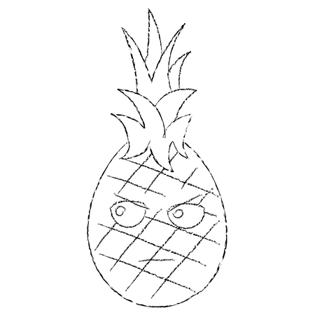 Pineapple angry fruit cute icon image, vector illustration.