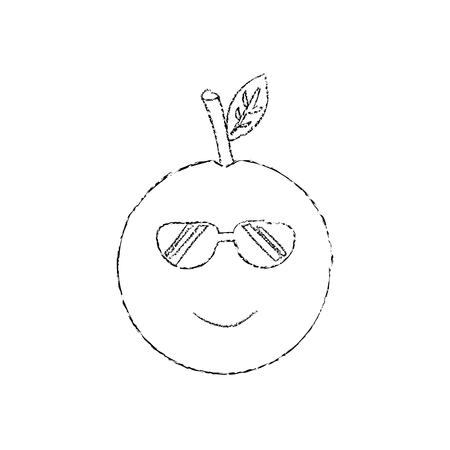 Orange wearing sunglasses happy fruit cute icon image, vector illustration.