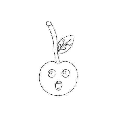 Cherry yelling talking fruit cute icon image, vector illustration.