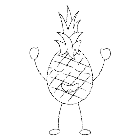 ピンナップルハッピーブリスフルーツアイコン画像ベクトルイラストデザインスケッチライン 写真素材 - 90838697