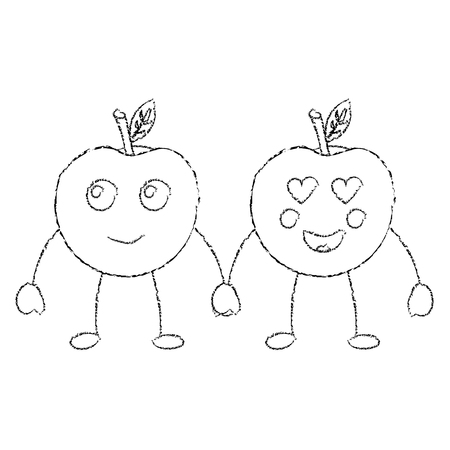 two cartoon fruit apple holding hands vector illustration